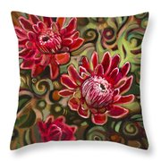 Red Proteas Throw Pillow by Jen Norton