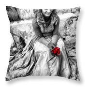 Red Red Rose In Black And White Throw Pillow by David Smith