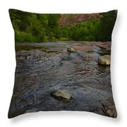 Red River Crossing under Cathedral Rock Throw Pillow by Dave Dilli