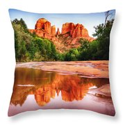 Red Rock State Park - Cathedral Rock Throw Pillow by Bob and Nadine Johnston