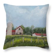 Red Roof Barns Throw Pillow by Reb Frost