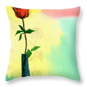 Red Rose 1 Throw Pillow by Anil Nene