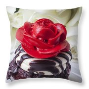 Red Rose Cupcake Throw Pillow by Garry Gay