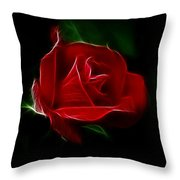 Red Rose Throw Pillow by Sandy Keeton
