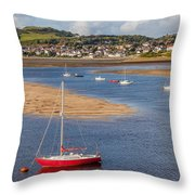 Red Sail Boat Throw Pillow by Adrian Evans
