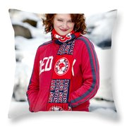 Red Sox Girl Throw Pillow by Greg Fortier