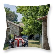 Red Tractor On A French Farm Throw Pillow by Georgia Fowler