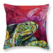 Red Turtle Throw Pillow by Lovejoy Creations