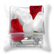 Red Versus White Roses Throw Pillow by Andee Design