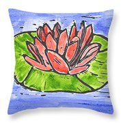 Red Waterlily Throw Pillow by Lynn-Marie Gildersleeve