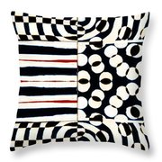 Red White Black Number 4 Throw Pillow by Carol Leigh