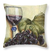Red Wine And Grape Leaf Throw Pillow by Debbie DeWitt