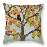 Red Winged Black Birds In A Tree Throw Pillow by Blenda Studio