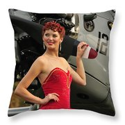 Redhead Pin-up Girl In 1940s Style Throw Pillow by Christian Kieffer