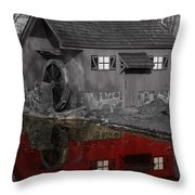Reflection Of Red Mill Throw Pillow by Bill Woodstock