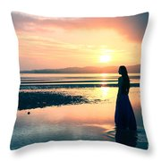 Reflections By The Sea Throw Pillow by Gee Lyon
