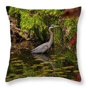 Reflective Great Blue Heron Throw Pillow by Jordan Blackstone