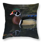 Reflective Wood Duck Throw Pillow by Deborah Benoit