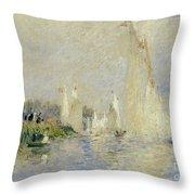 Regatta At Argenteuil Throw Pillow by Pierre Auguste Renoir