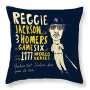 Reggie Jackson New York Yankees Throw Pillow by Jay Perkins