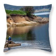Relaxed Fisherman Throw Pillow by Robert Bales