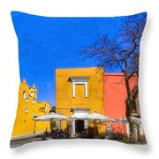 Relaxing In Colorful Puebla Throw Pillow by Mark E Tisdale