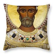 Religious Art Inside The Tsminda Sameba Cathedral Tbilisi Throw Pillow by Robert Preston