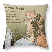 Reproduction Of A Poster Advertising 'schaerbeek's Artistic Circle Throw Pillow by Livemont
