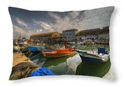 resting boats at the Jaffa port Throw Pillow by Ron Shoshani