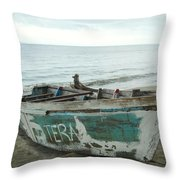Resting Fishing Boat Throw Pillow by Jocelyn Friis