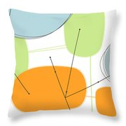 Retro Abstract In Orange And Green Throw Pillow by Karyn Lewis Bonfiglio