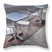 Retro Cafe Throw Pillow by Olivier Le Queinec