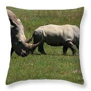 Rhinoceros Throw Pillow by Aidan Moran