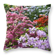 Rhododendron Garden Throw Pillow by Frank Tschakert