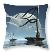Ribbon Island Throw Pillow by Cynthia Decker