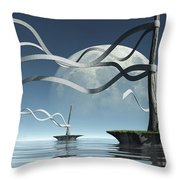 Ribbon Island Throw Pillow by Cynthia Decker