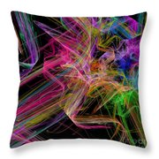 Ribbons And Curls Black - Abstract - Fractal Throw Pillow by Andee Design