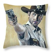 Rick Grimes Throw Pillow by Tom Carlton