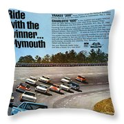 Ride With The Winner... Plymouth Throw Pillow by Digital Repro Depot