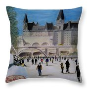 Rideau Canal Winterlude Throw Pillow by John Lyes