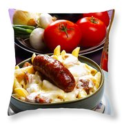 Rigatoni And Sausage Throw Pillow by Camille Lopez