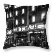 Ripley's of Gatlinburg in Black and White Throw Pillow by Greg and Chrystal Mimbs