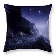 Rising Moon Over Ocean And Mountains Throw Pillow by Evgeny Kuklev