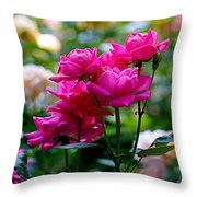 Rittenhouse Square Roses Throw Pillow by Rona Black