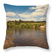 River Flows Throw Pillow by Jenny Rainbow