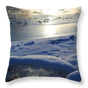 River Ice Throw Pillow by Hanne Lore Koehler