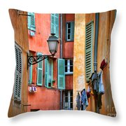 Riviera Alley Throw Pillow by Inge Johnsson