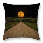 Road to Nowhere - Supermoon Throw Pillow by Aaron J Groen
