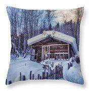 Robert Service Cabin Winter Idyll Throw Pillow by Priska Wettstein