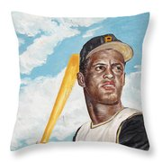 Roberto Clemente Throw Pillow by Philip Lee